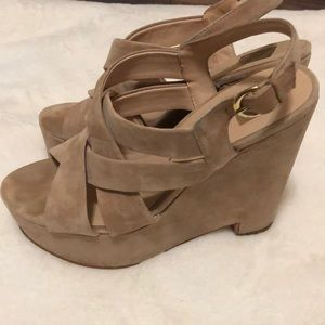 Dolce Vita nude suede wedges size 9.5